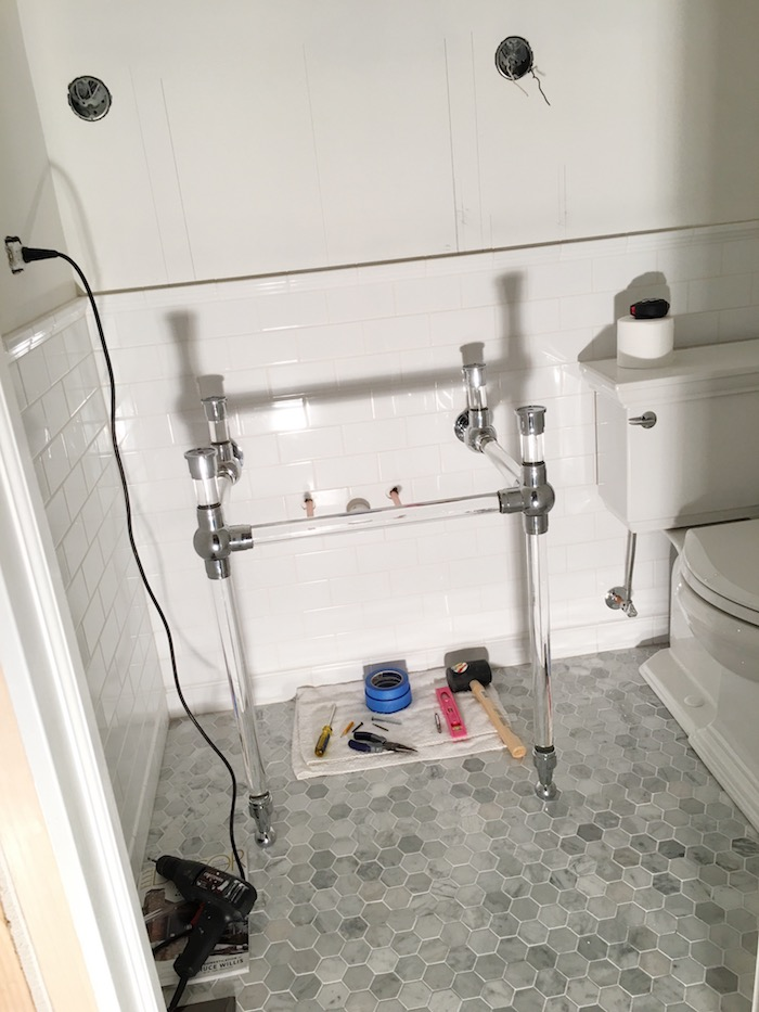 Installing a console sink base- Laura Design Co.