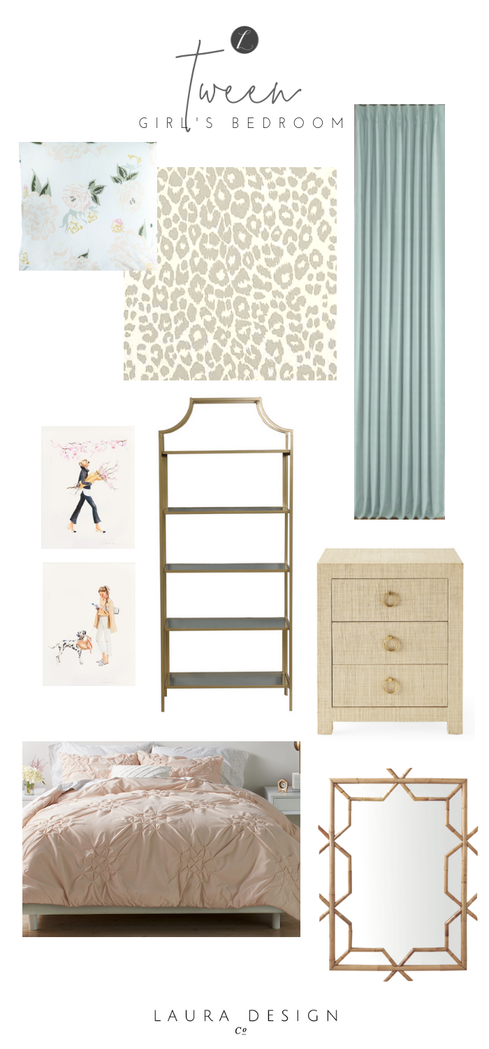 Tween girl's bedroom design- One Room Challenge by Laura Design Co.