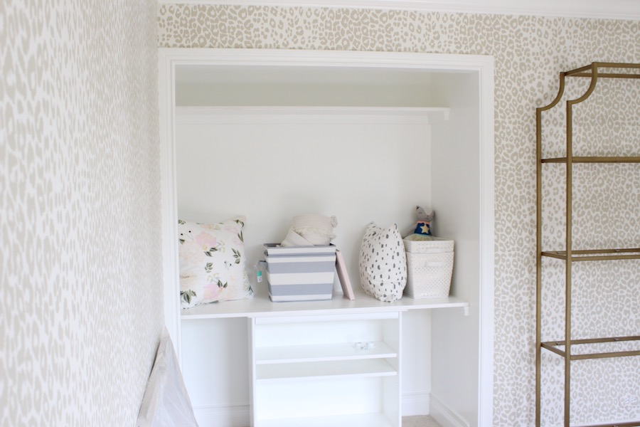 Reading nook in closet, girls room- Laura Design Co. One Room Challenge