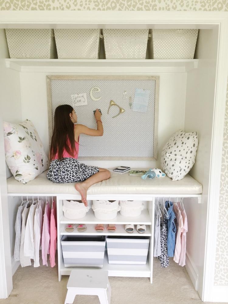 DIY Closet Reading Nook Kids Room Closet Ideas Built Ins Tween Girl Hideaway Play Closet