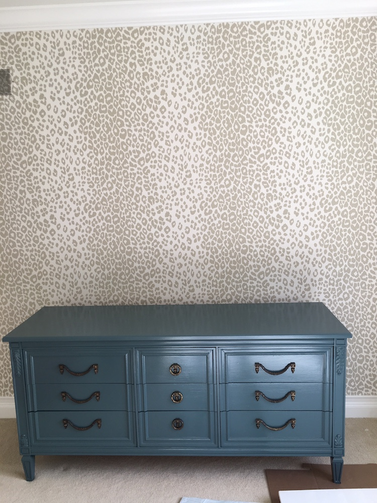 One Room Challenge Laura Design Co. - Tween Girl's Bedroom Redesign- Dresser is Farrow & Ball No. 289 Inchyra Blue, Walls are Schumacher Iconic Leopard