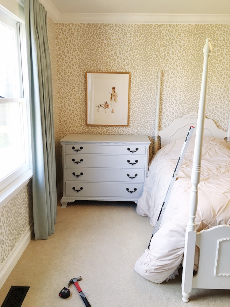 Schumacher Iconic Leopard Wallpaper, Vintage Dresser, Inslee Farris Artwork- One Room Challenge by Laura Design Co.