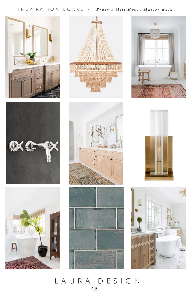 Eclectic Master Bathroom Design- Laura Design Co.