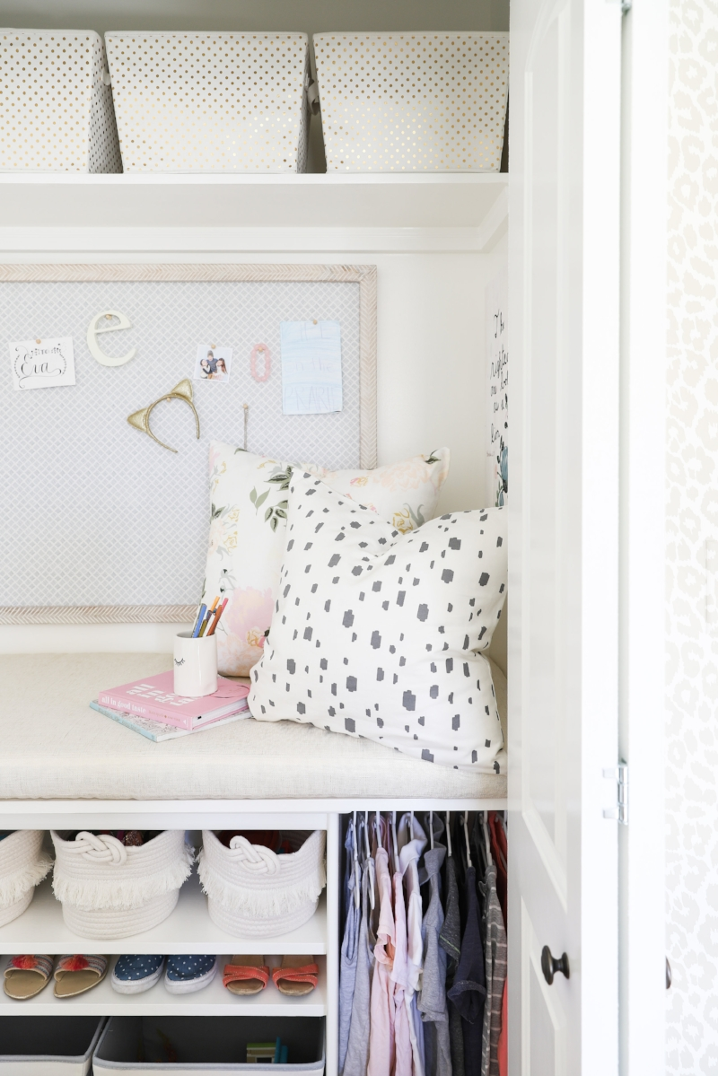 Built-in DIY closet reading nook, kids bedroom closet hideaway, closet bed, kids rooms- Tween Girls Bedroom Design by Laura Design Co., Photo by Emily Kennedy