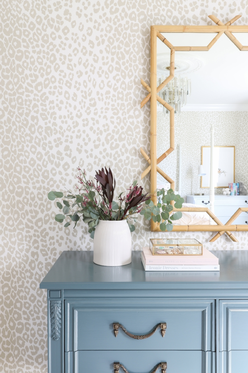 Farrow & Ball Inchyra Blue Paint, Serena & Lily Lanai Mirror, Schumacher Iconic Leopard Wallpaper- Interior Design by Laura Design Company
