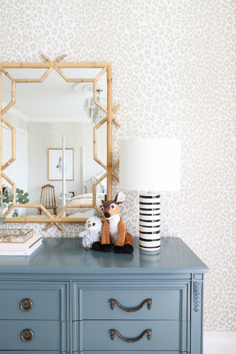 Farrow & Ball Inchyra Blue Paint, Kate Spade Table Lamp, Serena & Lily Lanai Mirror, Schumacher Iconic Leopard Wallpaper- Interior Design by Laura Design Company