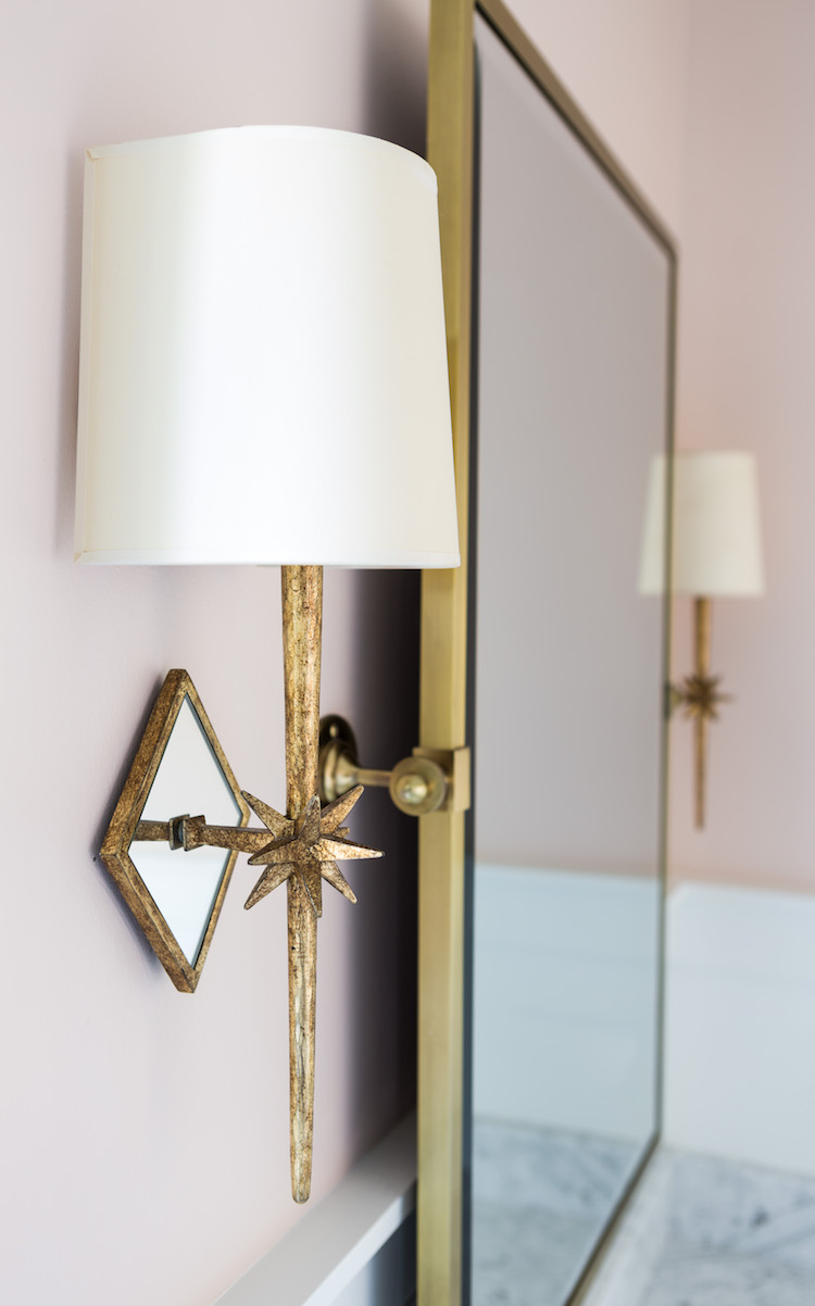 Visual Comfort Etoile Sconce, Farrow & Ball Pink Ground Wall Paint, Pottery Barn Vintage Pivot Mirror