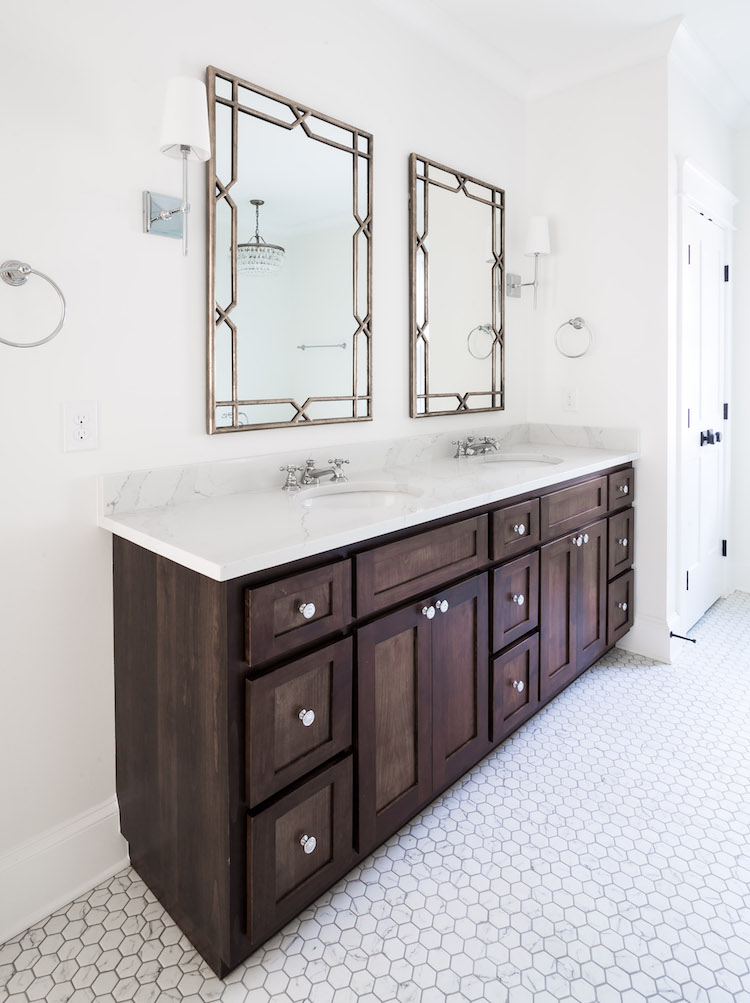 Master Bathroom with Wisteria Mirrors, Dark Walnut Vanity- Interior Design by Laura Design Co.