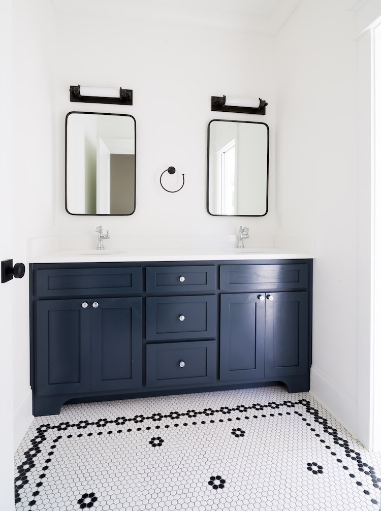 Hex Tile Mosaic Floor with Border, Vanity is Blue Note by Benjamin Moore- Interior Design by Laura Design Co.