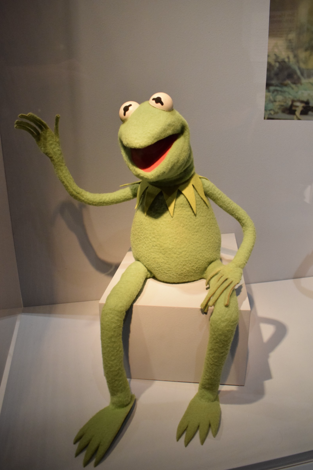 Kermit the Frog greets visitors to the Jim Henson Exhibition.