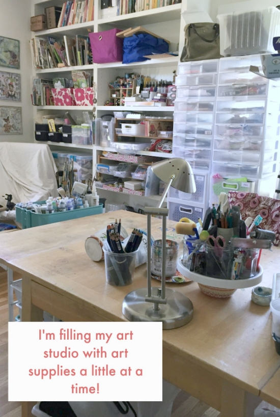Here's a shot of my studio that is growing full with supplies.