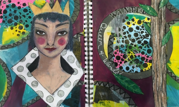 Queen of Wands Art Journal page