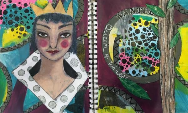 Queen of Wands Art Journal page