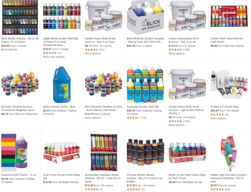 Screenshot of some acrylic paint brands