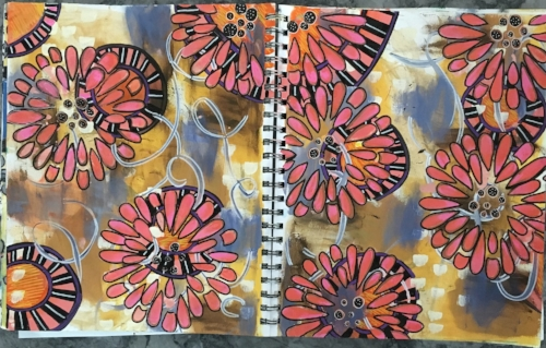 two art journal pages