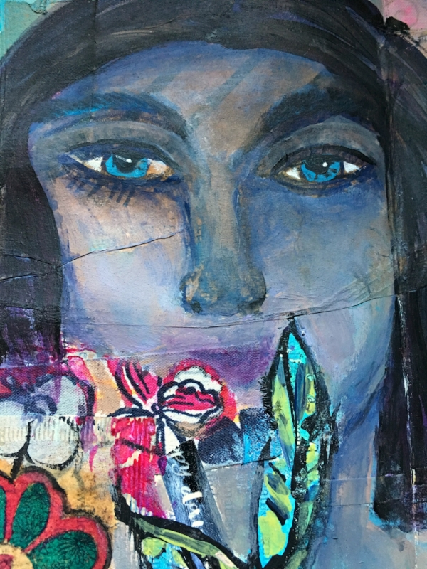 Latest (close up) from my art journal. She looks like she's thinking about her creativity, right?