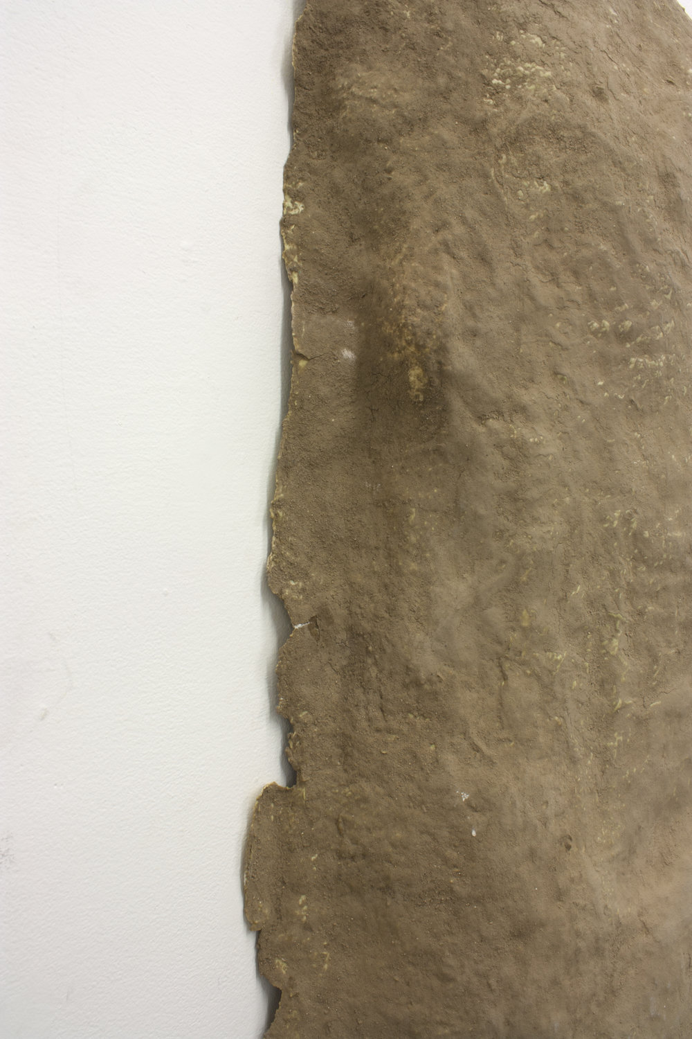 "a hard pLace  (detail)   Sifted Dirt, Detritus Paper, Leaves, Unfired Clay, and Glue   5'2"" x6' x 1'  2016"