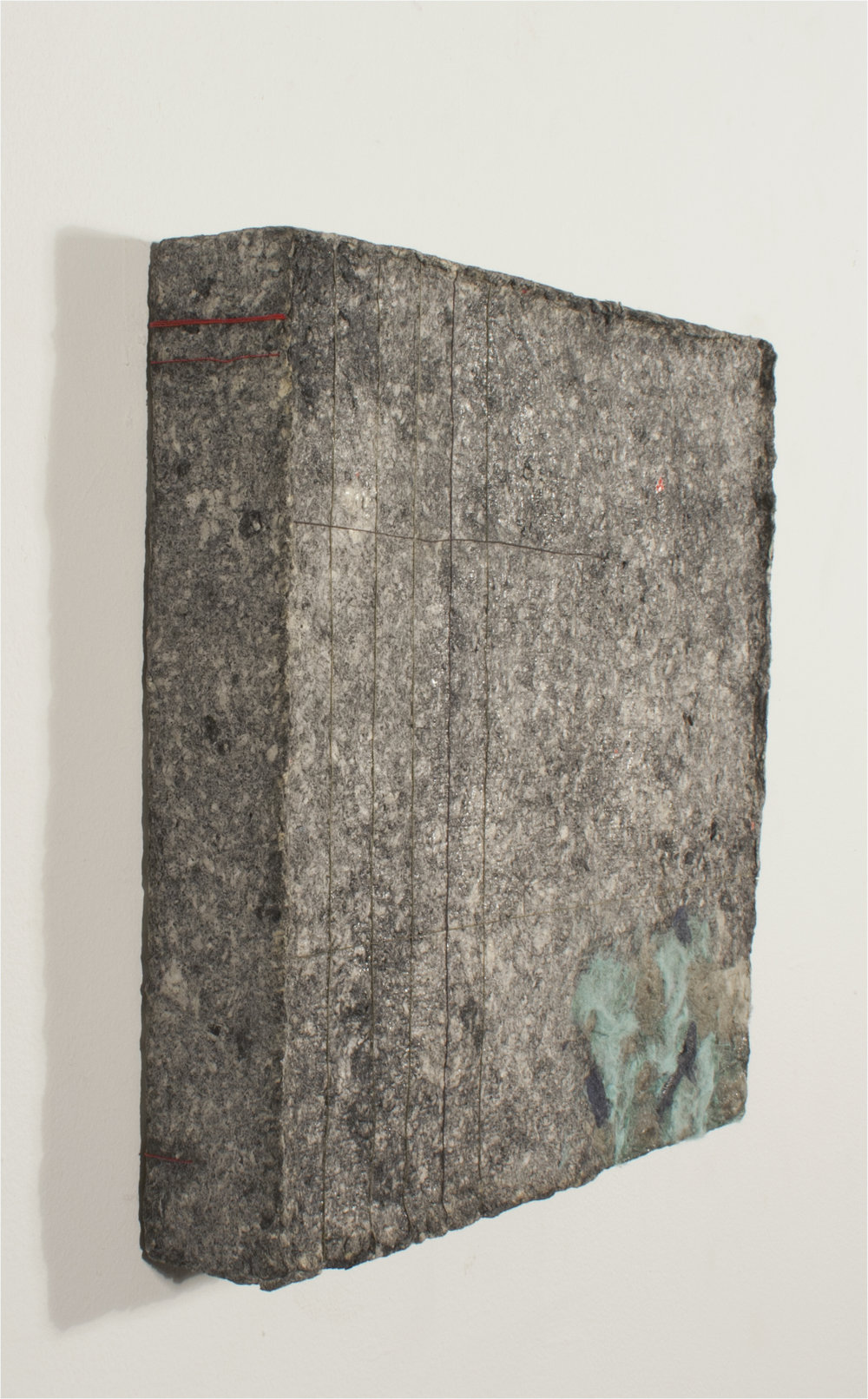 "Granite    Detritus Paper, Charcoal, Dryer Lint, String, and Glue on Wood   11"" x 11""  2016"