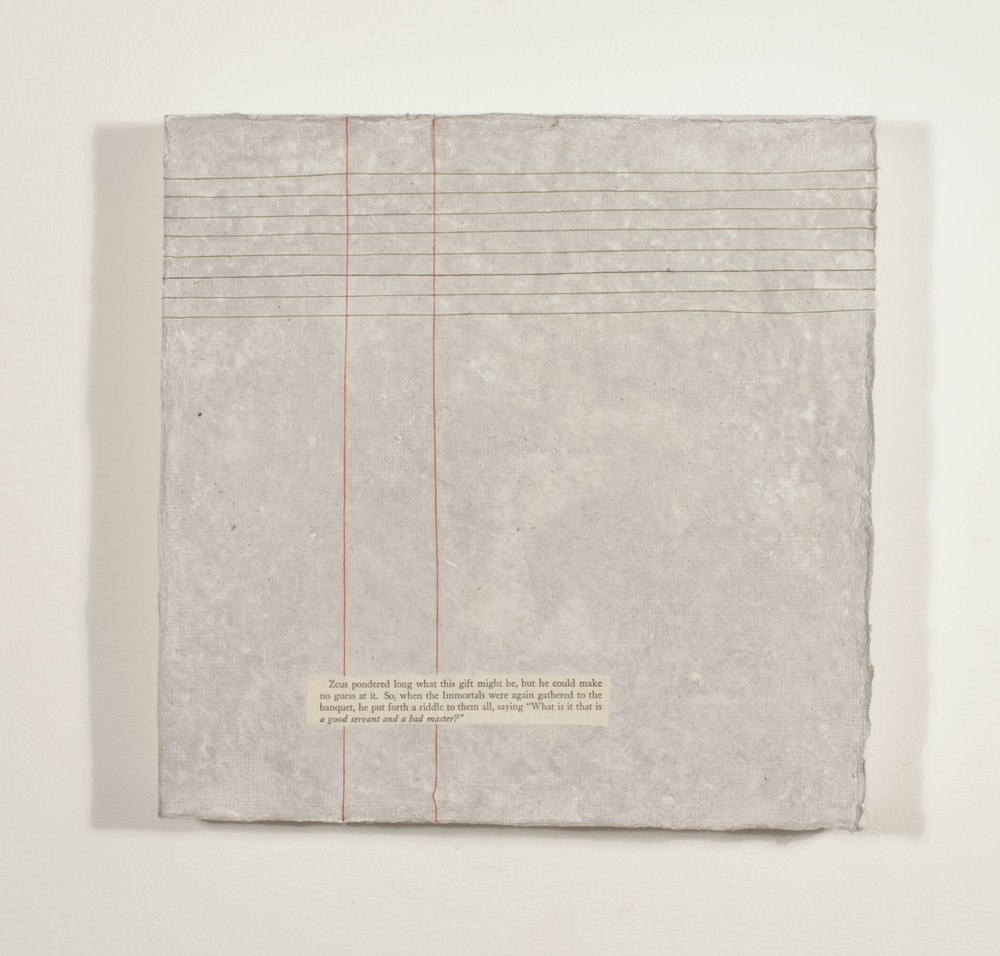 "Modern Prometheus    Detritus Paper and String on Wood   11"" x 11""  2016"