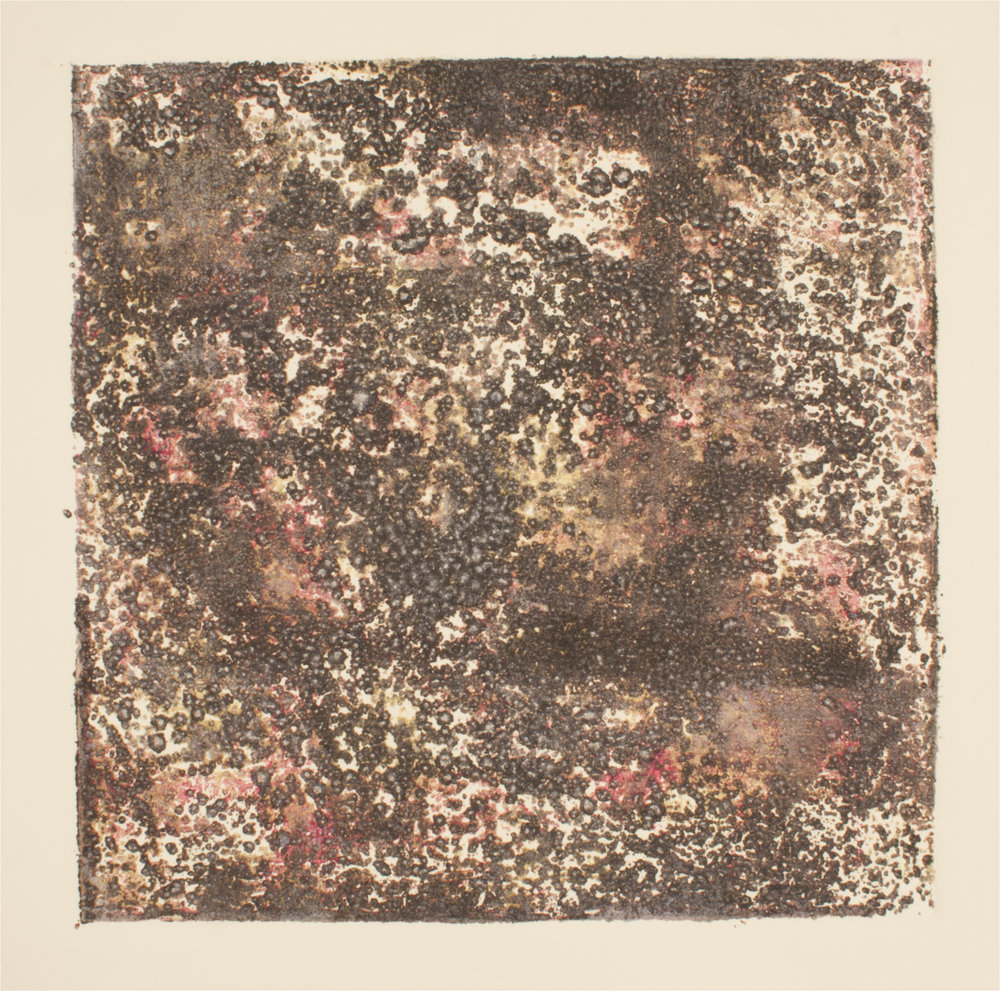 "Stained Concrete    Collograph Print   8"" x 8""  2016"