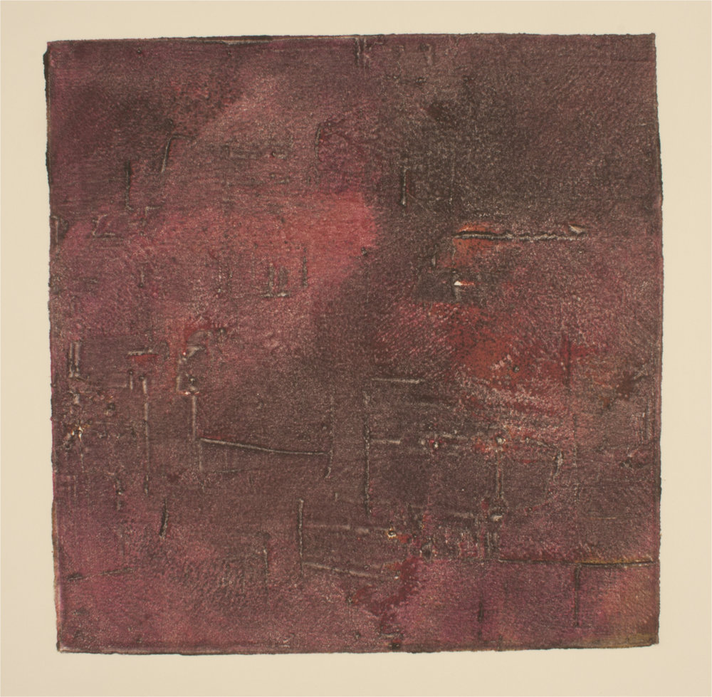 "Stained Concrete    Collograph Print   7"" x 7""  2016"