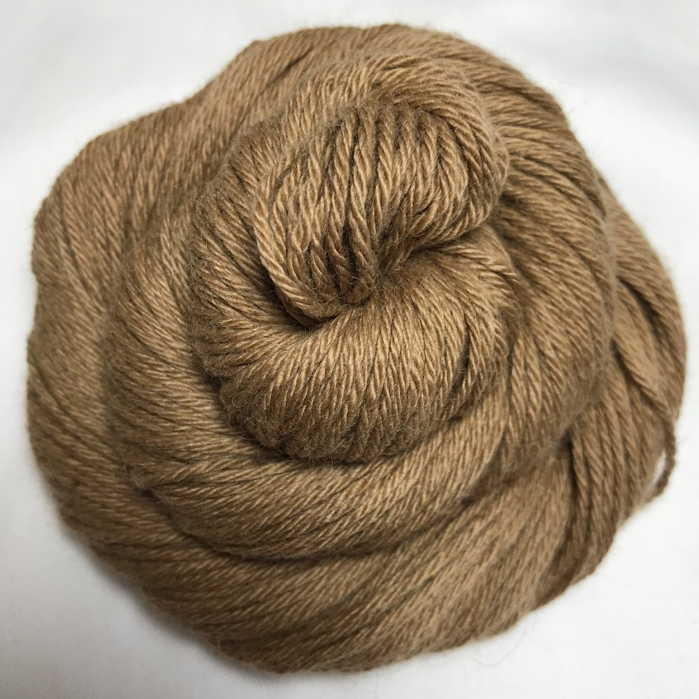 Baby Camel DK - $22 100% Natural Baby Camelhair. Worsted spun super soft and strong yarn that really has a beautiful color whether natural or dyed. This is truly a beautiful and luxurious yarn. Recommended Needle Size: 3.5-4.5mm (US 4-7) needles. Gauge (stocking stitch): 22 sts x 30 rows over 10cm/4 inches on 4mm (US 6) needles. 50g/113m/123yds