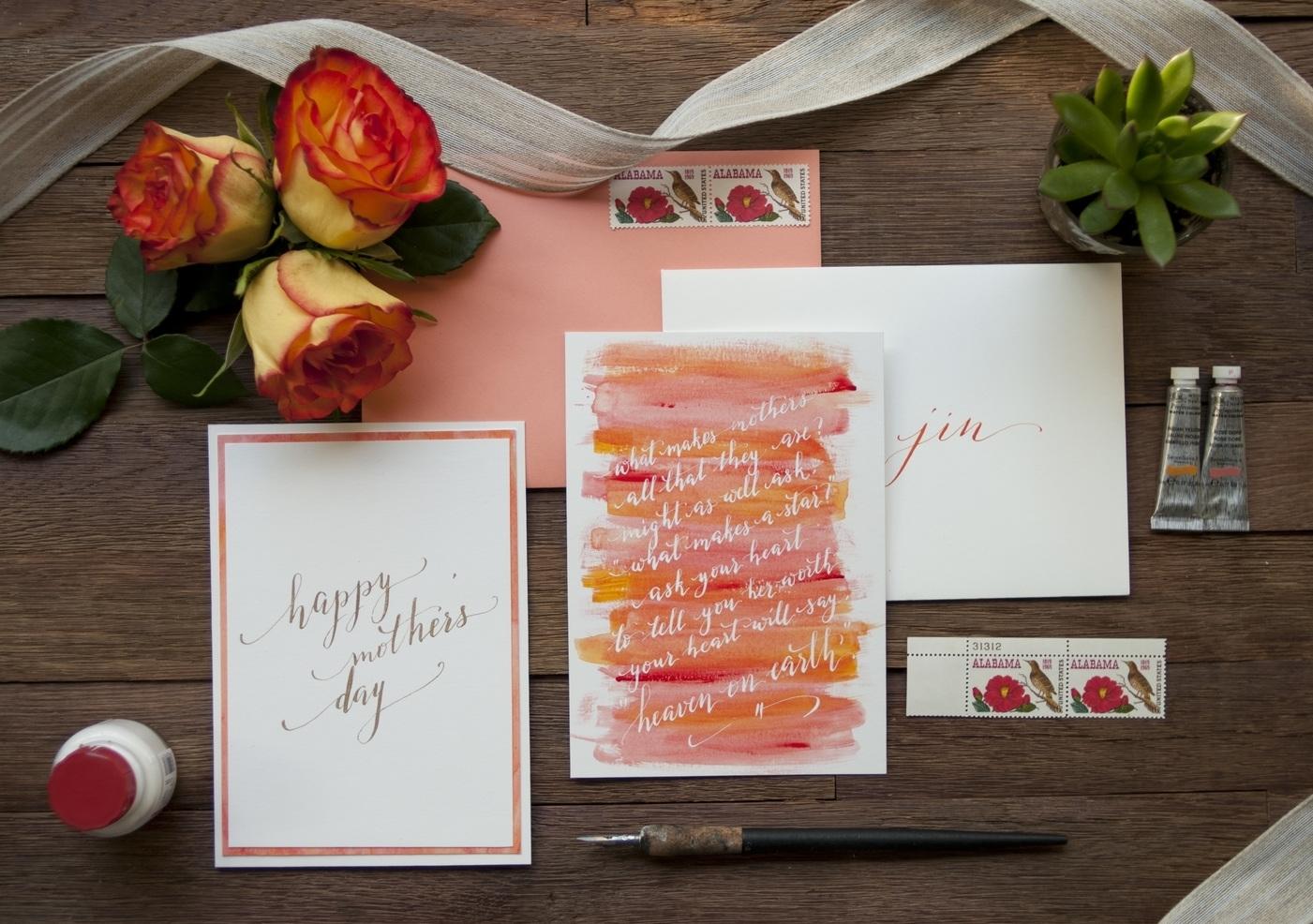 Rose color mothers day card u2014 seniman calligraphy