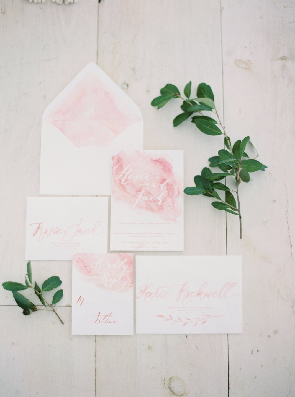 rose quartz styled shoot by tenth and grace seniman calligraphy