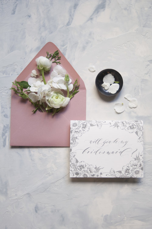 A2 Will You Be My Bridesmaid Cards Seniman Calligraphy Los