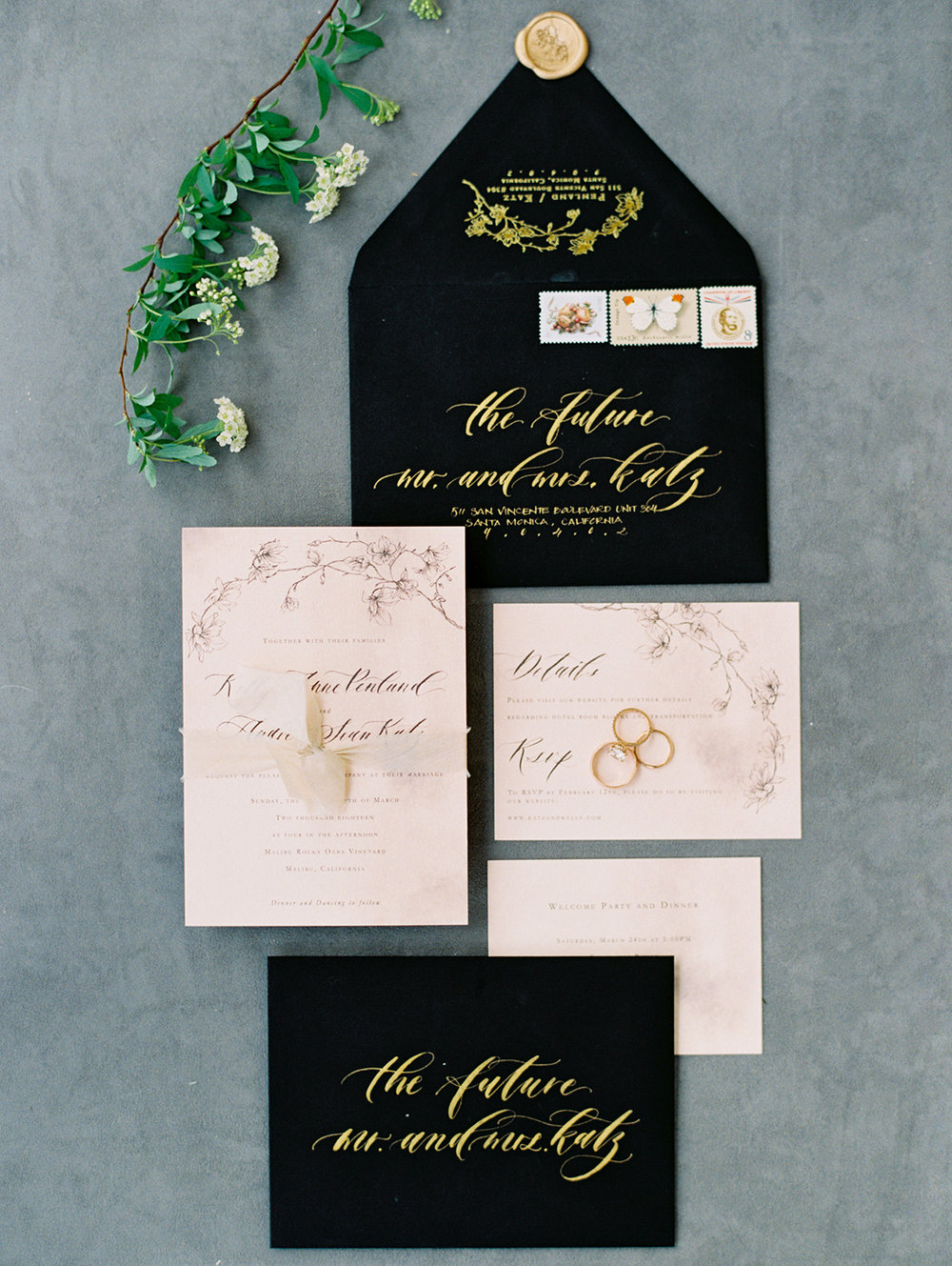 Photo by  Jon Cu Photography  | Wedding Planning by  The Elegant Ninja  | Floral by  Poppy Design Co  | Venue  Malibu Rocky Oaks  | Rental  Premiere Party Rents  | Linen by  La Tavola Linen  | Stationery by  Seniman Calligraphy