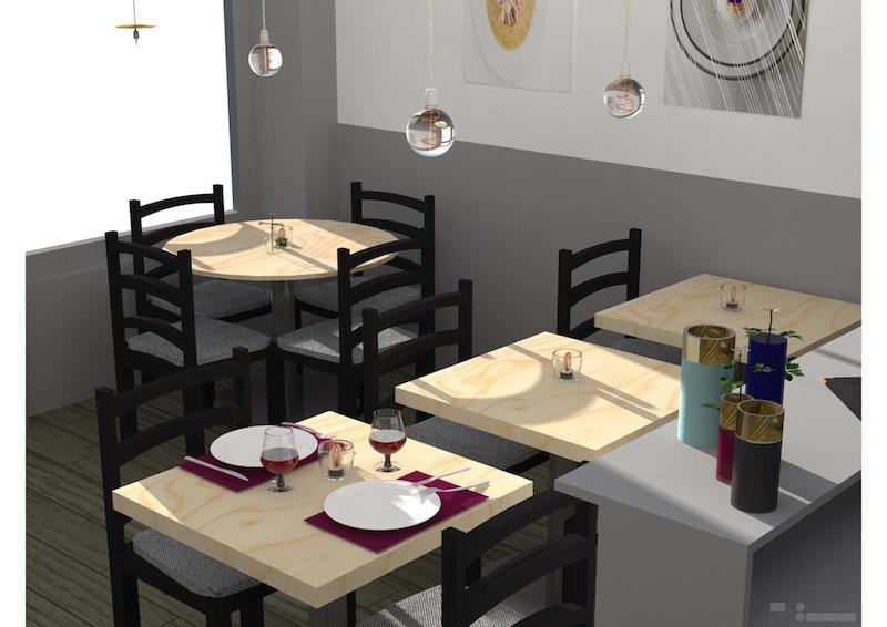 Décoration restaurant Levallois-Perret : Vue 3D Salle