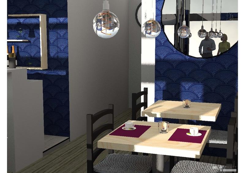 Décoration restaurant Levallois-Perret : Vue 3D Miroir