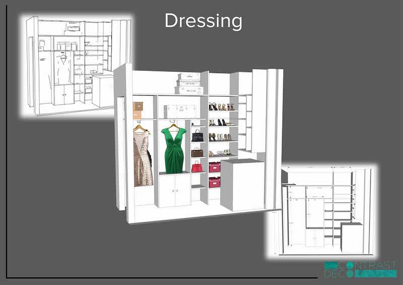 Décoration aménagement appartement Champigny-sur-Marne : dressing 3D