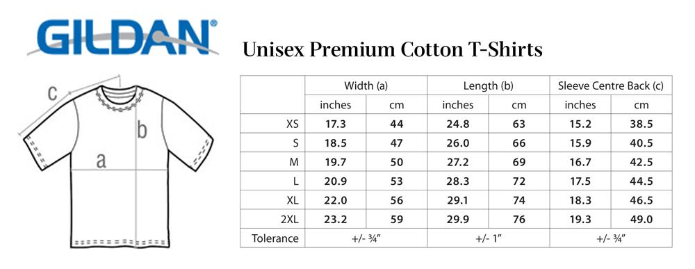 T shirt size charts in each hand a cutlass