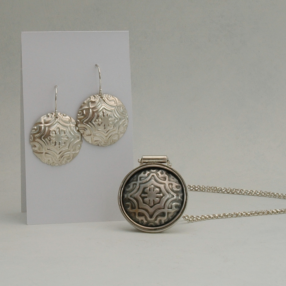 Earrings and Pendant Sterling Silver with Embossing 2 n.jpg