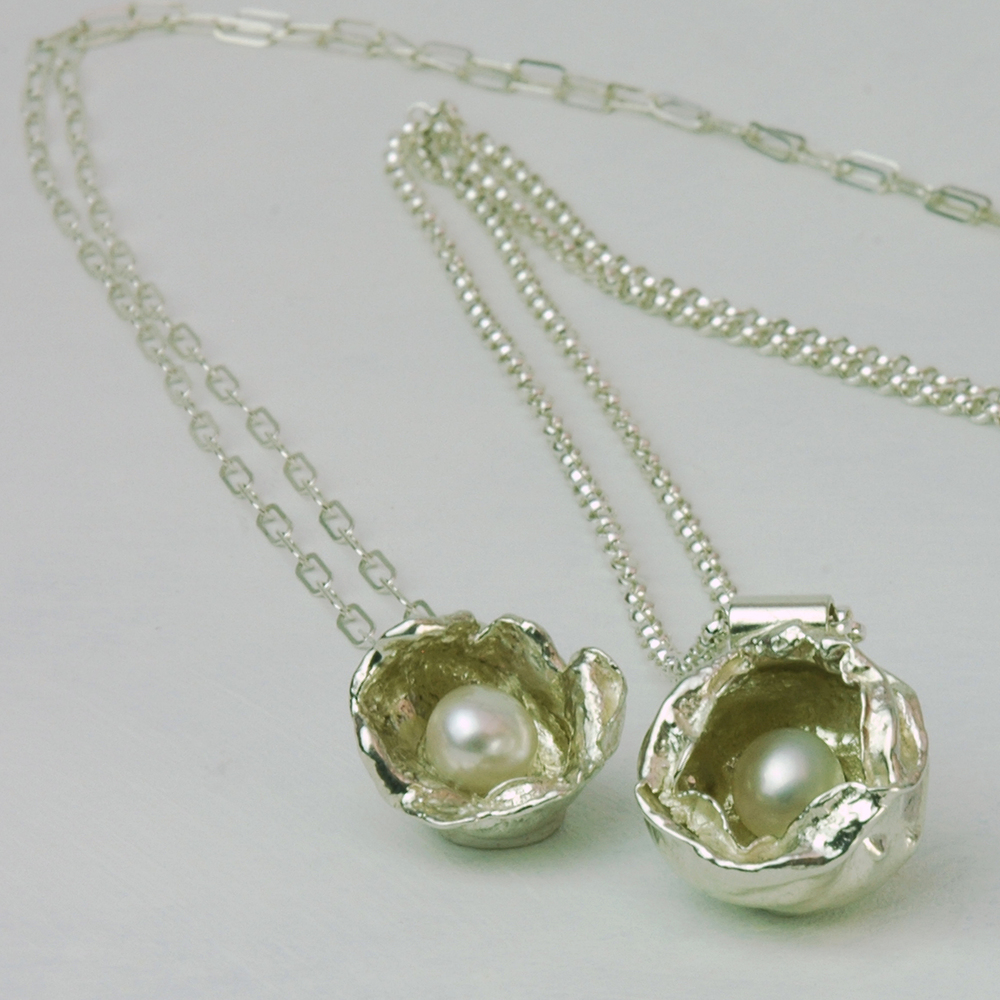 Sterling Silver Watercast Pendants with White Freshwater Pearls n.jpg