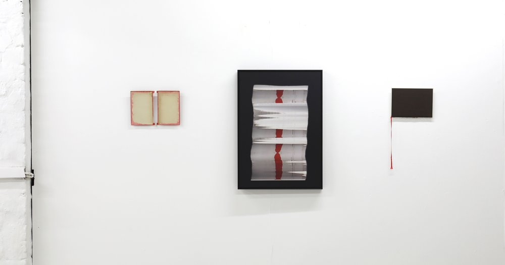 Installation View: The People of the River (left); Black Zodiac (centre); With What Words With What Silence III (right).