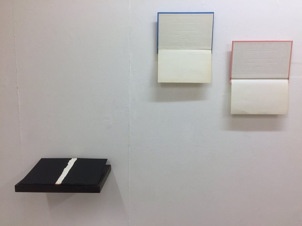 Installation view: Nothing is Written III (left); Unutterable II (centre); Unutterable I (right).