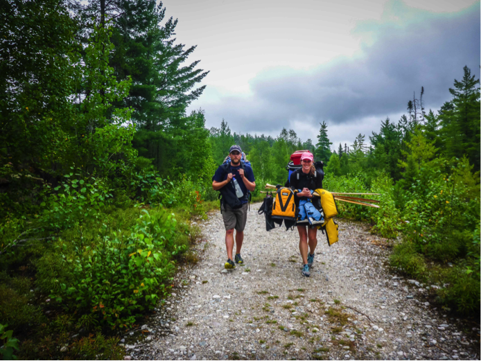 The author portaging along Red Squirrel road from Lain Lake to Wakimika Lake. Photo courtesy of Rob Nelson Photography.