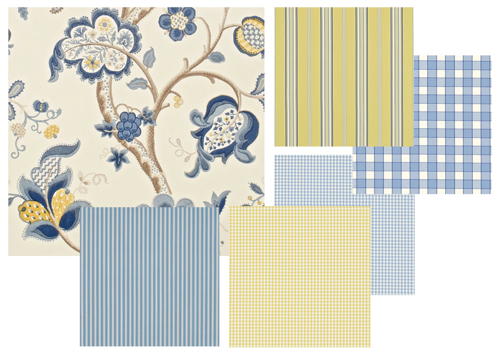 Red is not your colour? No problem, try a blue and yellow combination. The wallpaper with the flower print, the striped and checked fabrics are from Sanderson. If you compare the red-ivory combination with the yellow-blue combination that I would say the red one is warmer, the yellow-blue one has a fresher touch.