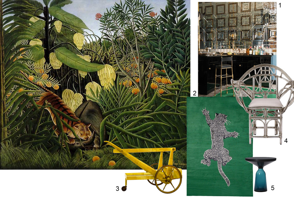 Painting Henri Rousseau: Fight between a Tiger and a Buffalo 1908  -  1 - 2 The Rugcompany - 3. 1stdibs - 4. McGuire - 5.ClassiCon