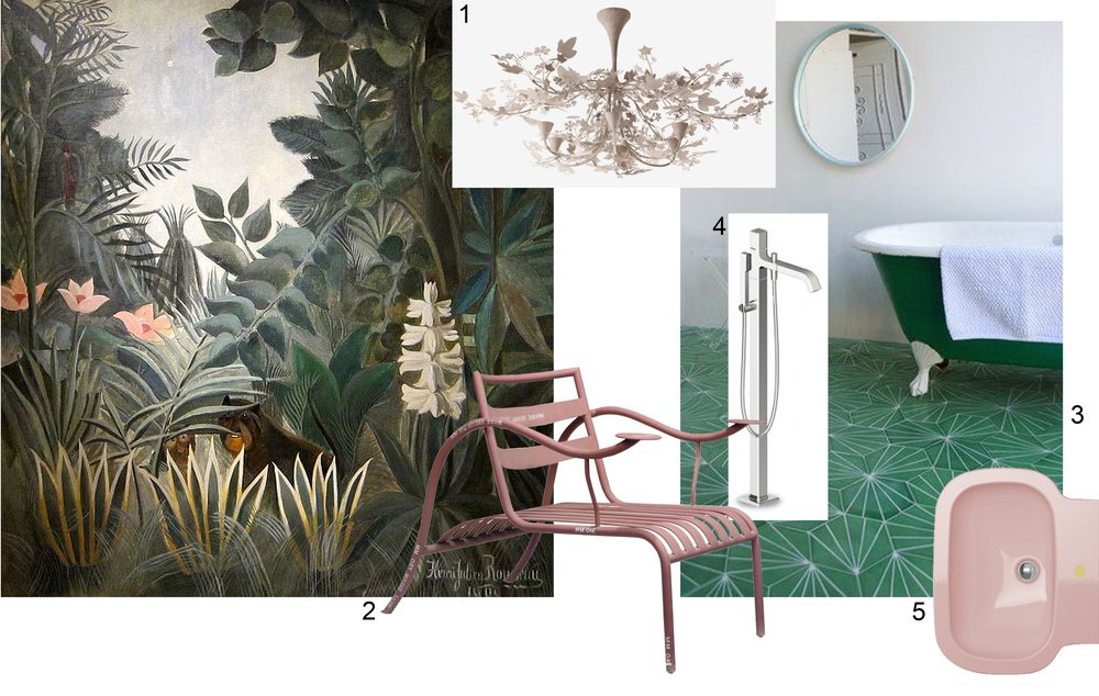 Painting: Henri Rousseau The Equatorial Jungle 1909  -  1. Porta Romana - 2. Jasper Morrison 3. Contemporary Tiles - 4. Zucchetti - 5. Ceramica Flaminia