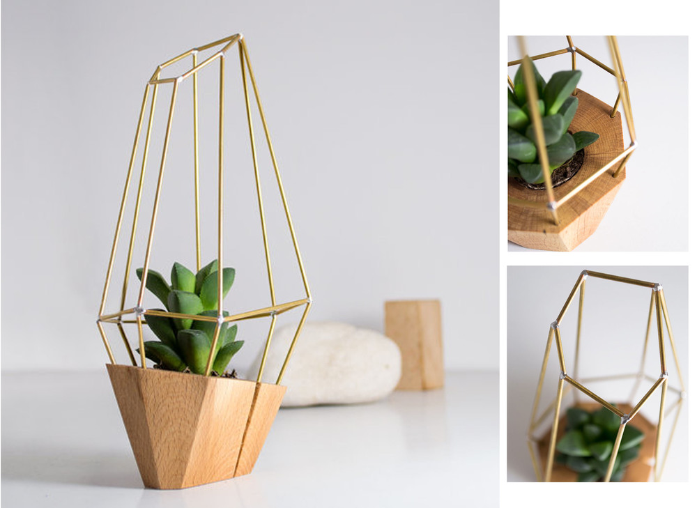 Wooden hand made planter from  Raw Originals