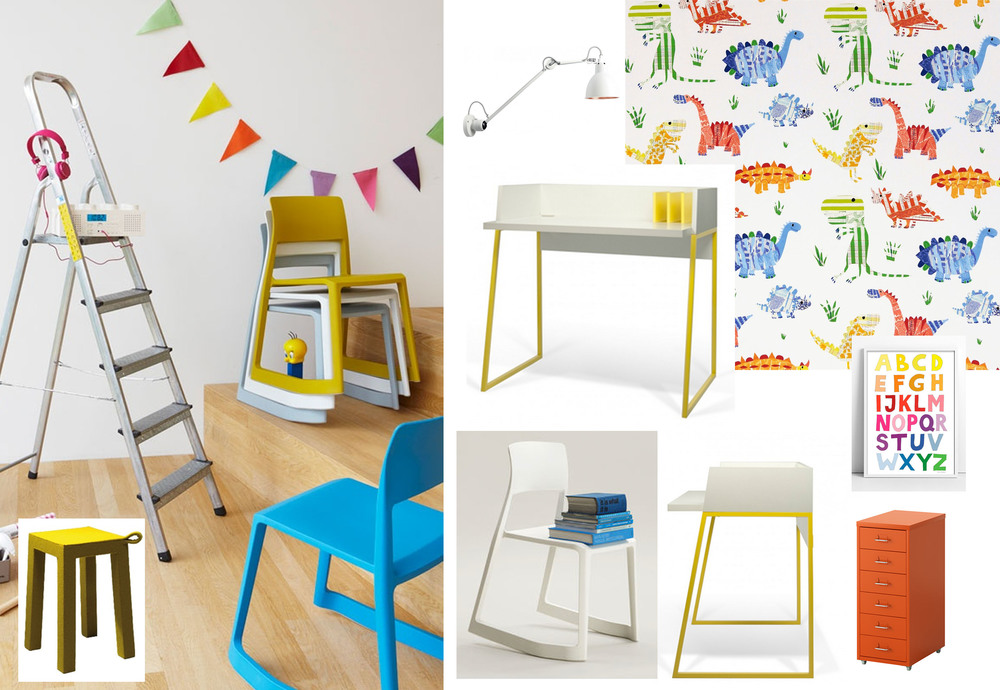 Tip Ton Chair  Vitra  - Volga desk  Temahome  -  stool Handle  Temahome  - Drawer unit  Ikea  - wallpaper Jolly Jurassic  Harlequin  - ABC poster   Tellkiddo  - wall light  DCW-editions