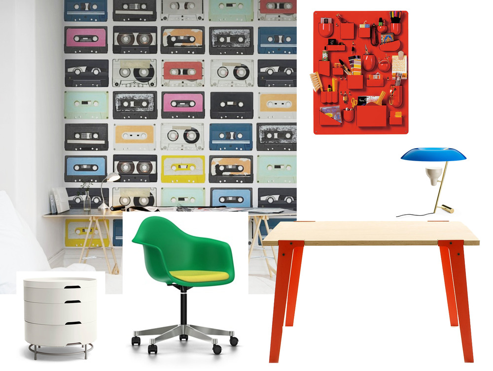 Eames chair  Vitra  - Switch desk  Rform  - desk lamp MOD. 548  Flos  - drawer unit  Ikea  - wallpaper Mixed Tape   Rebel Walls  -  wall organiser Uten.Silo  Vitra