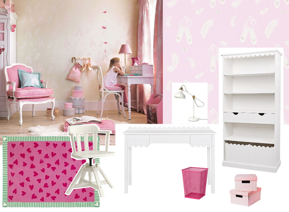 Feodor swiffel chair  Ikea  - Desk and bookshelve Petite  Homes in Heaven  - desk lamp Ranarp  Ikea  - Hearts and Flutter rug  Designers Guild  - wallpaper Ballet shoes  Sanderson  - paper bin and storage boxes  Ikea