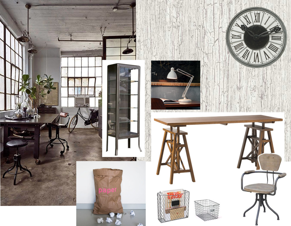 chair Tube  Signature  - desk Architecte   Mis en Demeure  - desk lamp Naska  Fontana Arte  - metal storage unit  Signature  - wallpaper Crackle  Cole & Son  - big wall clock  Mis en Demeure  - paper bin  Simply Chic Store  - metal wire basket  Amazon