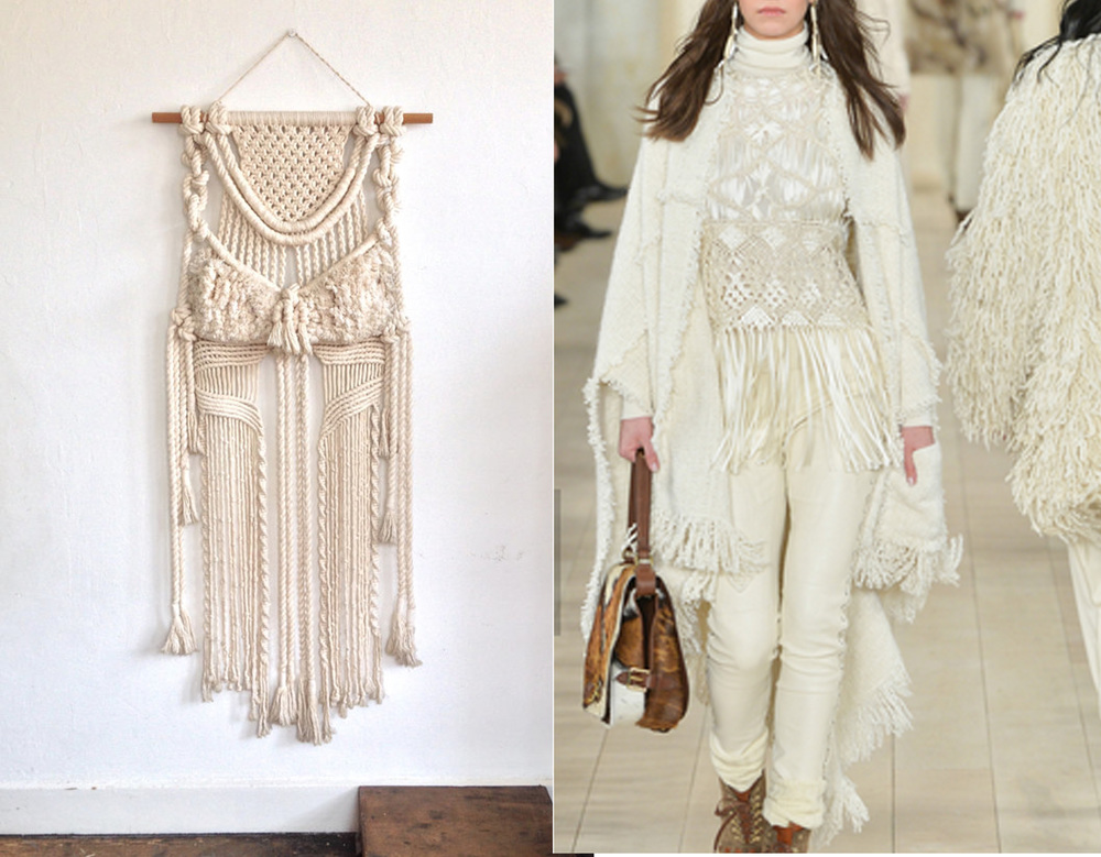 Vintage macrame wall hanging found on Pinterest - A/W 2015  Ralph Lauren