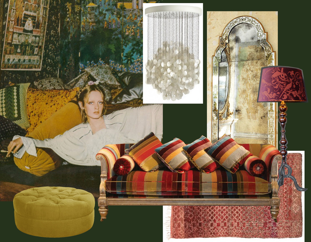 Twiggy by Justin de Villeneuve for UK Vogue 1973, found on  They Roared Vintage  -  Verpan  hanging lamp with mother of pearl - Queen Anne mirror  Julian Chichester  - Floor lamp   Emery & Cie  - Regency sofa  Julian Chichester  - vintage Moroccan rug  ABC Home  - Erwin ottoman  Marie's Corner