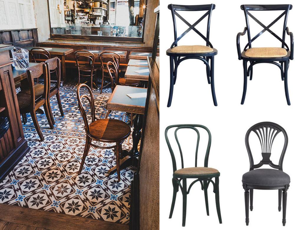 ciment tiles Pinterest - bistro chairs Signature